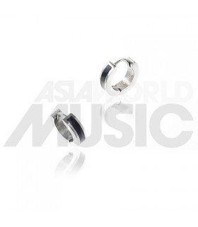 BTS - Boucles d'oreilles Mini Circle One Touch (BLACK & SILVER)