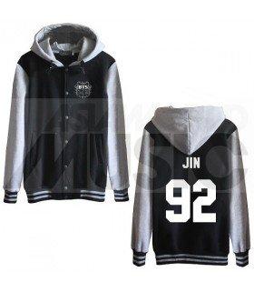 BTS - Blouson Teddy avec capuche - JIN 92 (Black / Grey)