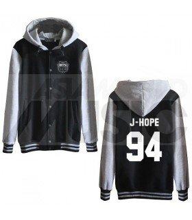 BTS - Blouson Teddy avec capuche - J-HOPE 94 (Black / Grey)