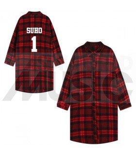 EXO - Chemise longue à carreaux - SUHO 1 (Red & Black) (Taille unique)