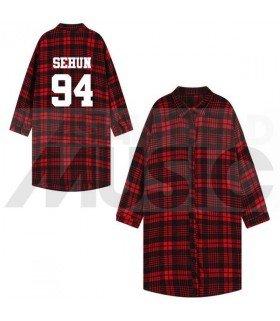 EXO - Chemise longue à carreaux - SEHUN 94 (Red & Black) (Taille unique)