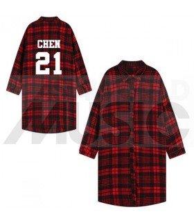 EXO - Chemise longue à carreaux - CHEN 21 (Red & Black) (Taille unique)