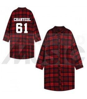 EXO - Chemise longue à carreaux - CHANYEOL 61 (Red & Black) (Taille unique)