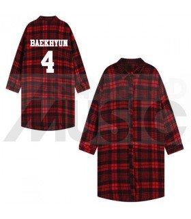 EXO - Chemise longue à carreaux - BAEKHYUN 4 (Red & Black) (Taille unique)