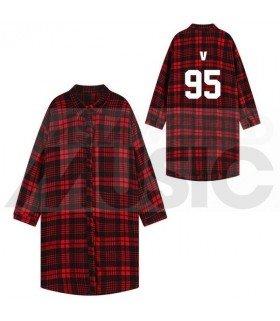 BTS - Chemise longue à carreaux - V 95 (Red & Black) (Taille unique)