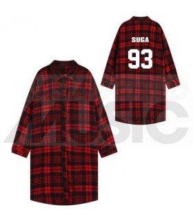 BTS - Chemise longue à carreaux - SUGA 93 (Red & Black) (Taille unique)