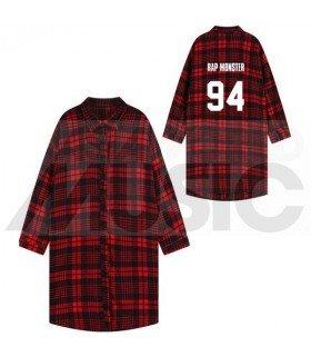 BTS - Chemise longue à carreaux - RAP MONSTER 94 (Red & Black) (Taille unique)