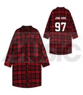 BTS - Chemise longue à carreaux - JUNGKOOK 97 (Red & Black) (Taille unique)