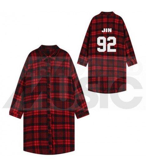 BTS - Chemise longue à carreaux - JIN 92 (Red & Black) (Taille unique)