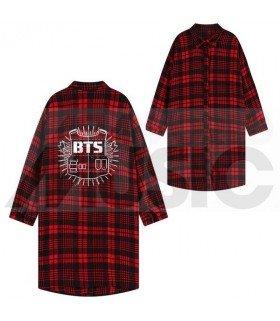 BTS - Chemise longue à carreaux - BANGTAN BOYS (Red & Black) (Taille unique)