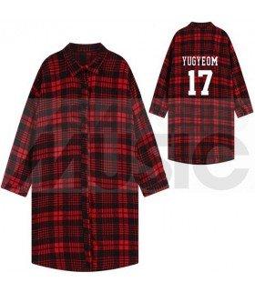GOT7 - Chemise longue à carreaux - YUGYEOM 17 (Red & Black) (Taille unique)