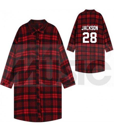 GOT7 - Chemise longue à carreaux - JACKSON 28 (Red & Black) (Taille unique)