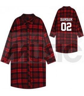 GOT7 - Chemise longue à carreaux - BAMBAM 02 (Red & Black) (Taille unique)