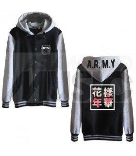 BTS - Blouson Teddy avec capuche - IN THE MOOD FOR LOVE (Black / Grey)