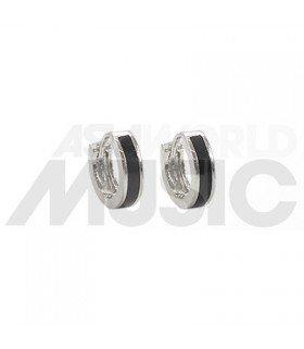 BTS - Boucles d'oreilles Simple Black Line (Silver)