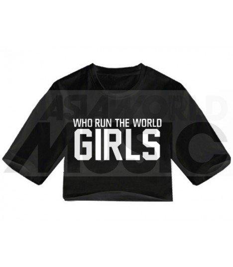 Crop top WHO RUN THE WORLD GIRLS (Black) (FAREAST)