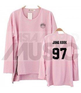 BTS - Sweatshirt Long Zip - JUNGKOOK 97 (Pink / Coupe unisexe)