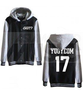 GOT7 - Blouson Teddy avec capuche - YUGYEOM 17 (Black / Grey)
