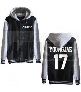 GOT7 - Blouson Teddy avec capuche - YOUNGJAE 17 (Black / Grey)