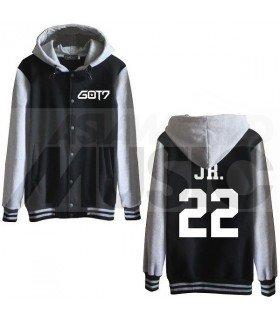 GOT7 - Blouson Teddy avec capuche - JR. 22 (Black / Grey)
