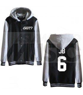 GOT7 - Blouson Teddy avec capuche - JB 6 (Black / Grey)