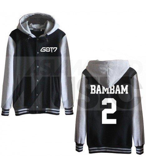 GOT7 - Blouson Teddy avec capuche - BAMBAM 2 (Black / Grey)