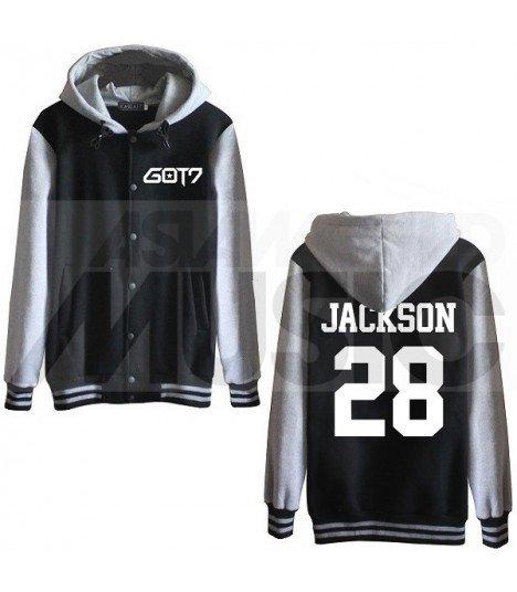 GOT7 - Blouson Teddy avec capuche - JACKSON 28 (Black / Grey)