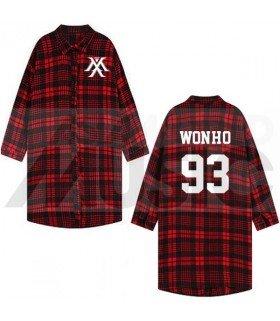 Monsta X - Chemise longue à carreaux - WONHO 93 (Red & Black) (Taille unique)