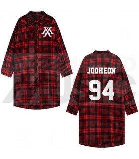 Monsta X - Chemise longue à carreaux - JOOHEON 94 (Red & Black) (Taille unique)