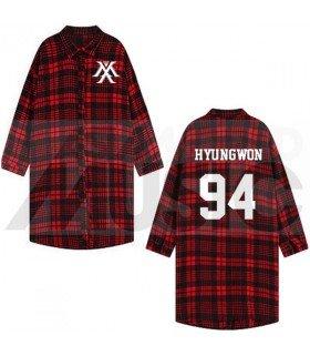 Monsta X - Chemise longue à carreaux - HYUNGWON 94 (Red & Black) (Taille unique)