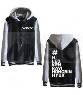 VIXX - Blouson Teddy avec capuche - HASHTAG VIXX (Black / Grey)