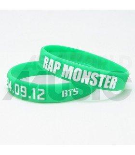 BTS - Bracelet Fashion 3D - RAP MONSTER 1994.09.12 (GREEN / WHITE)