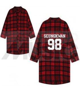 SEVENTEEN - Chemise longue à carreaux - SEUNGKWAN 98 (Red & Black) (Taille unique)