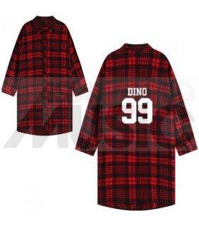 SEVENTEEN - Chemise longue à carreaux - DINO 99 (Red & Black) (Taille unique)