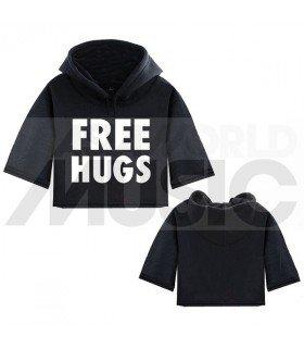 Sweat à capuche court FREE HUGS