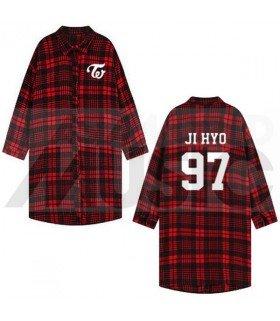 TWICE - Chemise longue à carreaux - JIHYO 97 (Red & Black) (Taille unique)