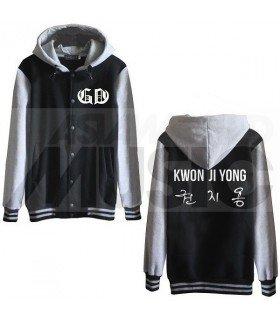 G-Dragon - Blouson Teddy avec capuche - KWON JI YONG (Black / Grey)