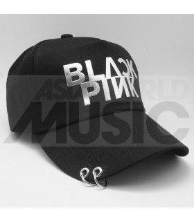 BLACKPINK - Casquette noire avec anneaux - BLACKPINK LOGO