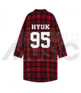 VIXX - Chemise longue à carreaux - HYUK 95  (Red & Black) (Taille unique)
