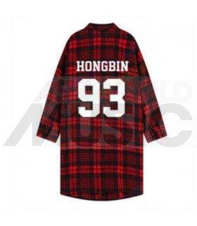 VIXX - Chemise longue à carreaux - HONGBIN 93 (Red & Black) (Taille unique)