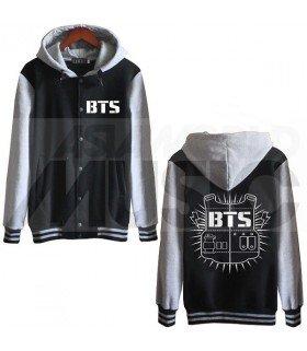 BTS - Blouson Teddy avec capuche - BULLETPROOF (Black / Grey)