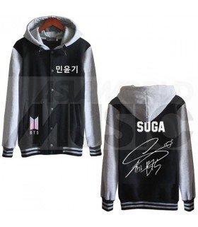 BTS - Blouson Teddy avec capuche - BTS NEW LOGO AUTOGRAPHED SUGA (Black / Grey)