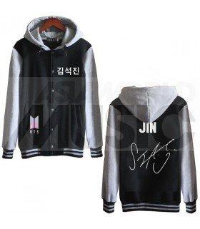 BTS - Blouson Teddy avec capuche - BTS NEW LOGO AUTOGRAPHED JIN (Black / Grey)
