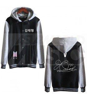 BTS - Blouson Teddy avec capuche - BTS NEW LOGO AUTOGRAPHED V (Black / Grey)