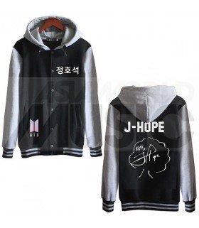 BTS - Blouson Teddy avec capuche - BTS NEW LOGO AUTOGRAPHED J-HOPE (Black / Grey)