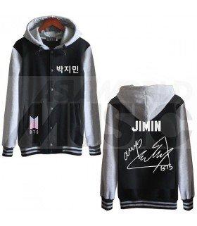 BTS - Blouson Teddy avec capuche - BTS NEW LOGO AUTOGRAPHED JIMIN (Black / Grey)