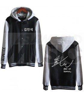 EXO - Blouson Teddy avec capuche - EXO AUTOGRAPHED XIUMIN (Black / Grey)
