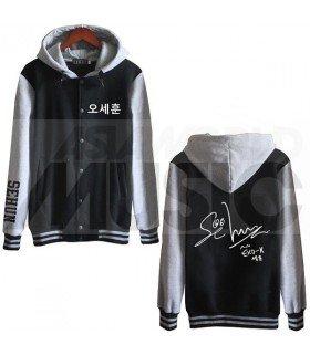 EXO - Blouson Teddy avec capuche - EXO AUTOGRAPHED SEHUN (Black / Grey)