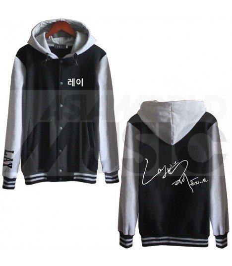 EXO - Blouson Teddy avec capuche - EXO AUTOGRAPHED LAY (Black / Grey)