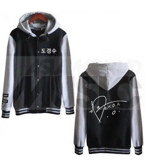 EXO - Blouson Teddy avec capuche - EXO AUTOGRAPHED D.O. (Black / Grey)